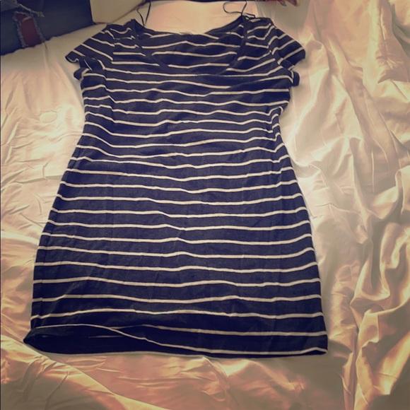 Mini black and white striped dress